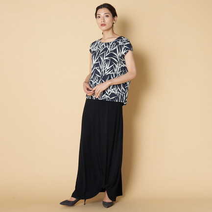 BAMBOO PRINT TOP W/BACK PLEAT 詳細画像 ネイビー 1