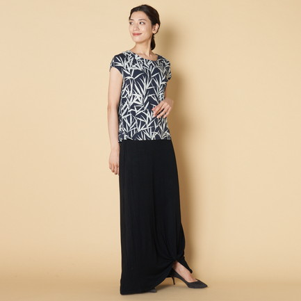 BAMBOO PRINT TOP W/BACK PLEAT 詳細画像 ネイビー 2