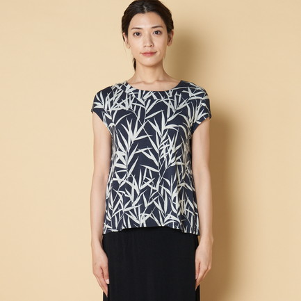 BAMBOO PRINT TOP W/BACK PLEAT 詳細画像 ネイビー 3