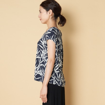BAMBOO PRINT TOP W/BACK PLEAT 詳細画像 ネイビー 4