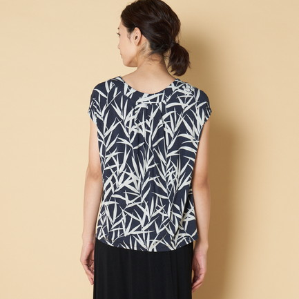 BAMBOO PRINT TOP W/BACK PLEAT 詳細画像 ネイビー 5