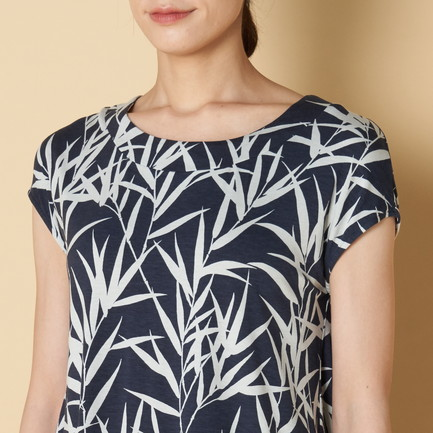 BAMBOO PRINT TOP W/BACK PLEAT 詳細画像 ネイビー 6