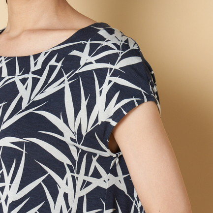 BAMBOO PRINT TOP W/BACK PLEAT 詳細画像 ネイビー 7