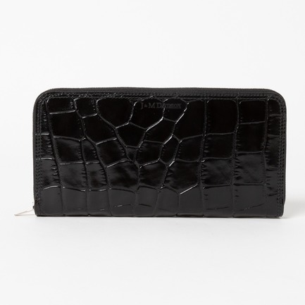 EMBOSS CROC ZIP AROUND WALLET